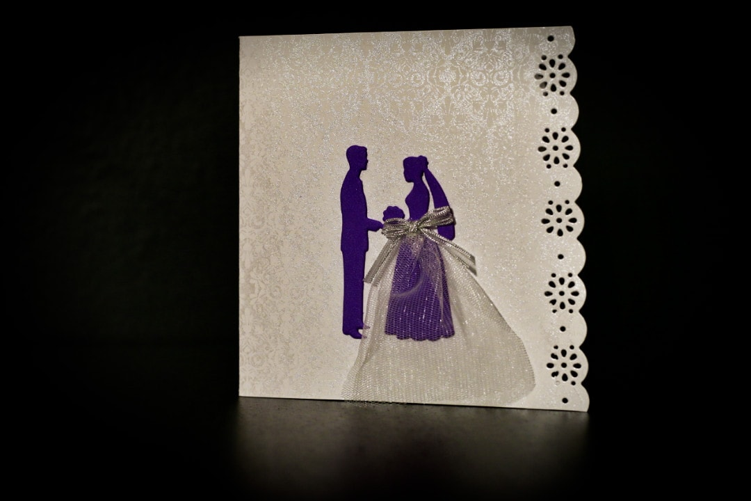 invitatie nunta mire si mireasa mov tulle - invitatii nunta personalizate-grand-media.ro