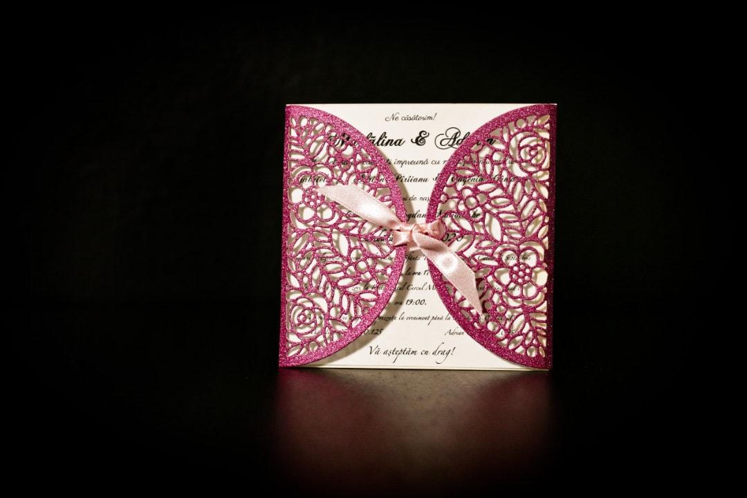 invitatie nunta simon glitter roz - invitatii nunta personalizate-grand-media.ro