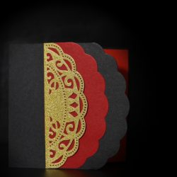 invitatie negru, rosu si auriu- invitatii nunta personalizate-grand-media.ro