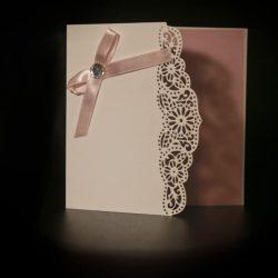 invitatie botez alb cu roz strass - invitatii nunta personalizate-grand-media.ro