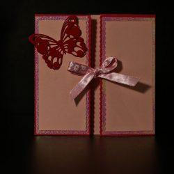 invitatie botez gatefold fluture roz - invitatii nunta personalizate-grand-media.ro