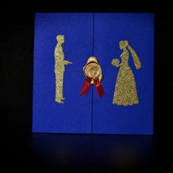 invitatie nunta albastru cu sigiliu - invitatii nunta personalizate-grand-media.ro