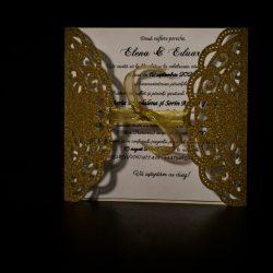 invitatie nunta gatefold glitter auriu - invitatii nunta personalizate-grand-media.ro